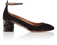 Aquazzura Women's Alix Velvet Ankle Strap Pumps Brown