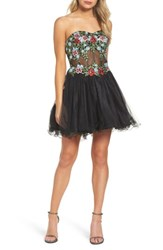 Blondie Nites Women's Embroidered Lace Fit And Flare Dress Black Multi