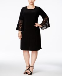 R And M Richards Plus Size Ruffled Sleeve Sheath Dress Black