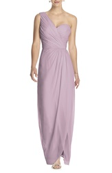 Dessy Collection One Shoulder Draped Chiffon Gown Suede Rose