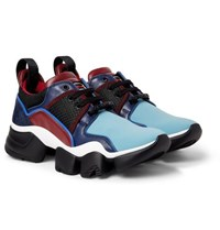 Givenchy Jaw Neoprene Suede Leather And Mesh Sneakers Blue