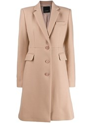 Pinko Single Breasted Coat Neutrals