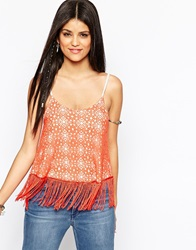 Hazel Crochet Lace Fringed Cami Top Spice