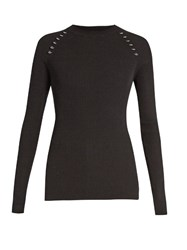 Thierry Mugler Ring Embellished Long Sleeved Ribbed Knit Sweater Black