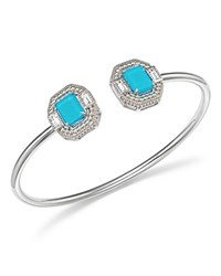 Judith Ripka Sterling Silver Avery Doublet Baguette Cuff With Rock Crystal Blue Silver