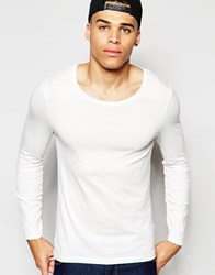 Asos Muscle Long Sleeve T Shirt With Scoop Neck In Off White Offwhite