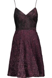 Badgley Mischka Metallic Twill And Brocade Dress Pink