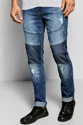 Boohoo Fit Stretch Biker Jeans With Abrasions Mid Blue