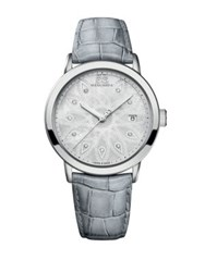 88 Rue Du Rhone Ladies Stainless Steel And Pearlized Gray Watch With Diamonds Grey
