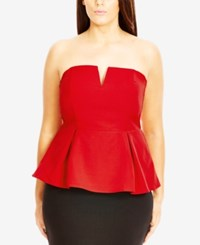 City Chic Plus Size Colorblocked Peplum Top Red
