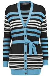 Emilio Pucci Striped Wool Cotton And Silk Blend Cardigan Black