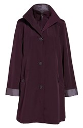 Gallery Women's A Line Raincoat With Detachable Hood And Liner Blackberry