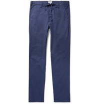 Hartford Troy Slim Fit Cotton Chambray Drawstring Trousers Blue