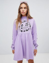 a38210a9d5 Lazy Oaf Not Working Long Sleeve Dress Purple