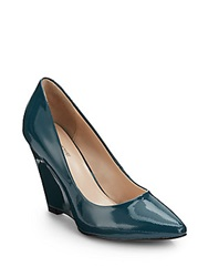 Pour La Victoire Milla Patent Leather Point Toe Wedges Teal