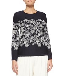 Carolina Herrera Long Sleeve Floral Lace Top Navy