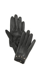 Carolina Amato Studded Short Leather Gloves Black