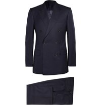 Kingsman Navy Double Breasted Super 120S Wool Suit