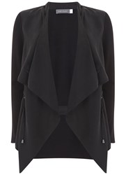 Mint Velvet Black Cupro Front Cardigan Black