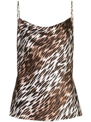 L'agence Leopard Print Top Brown
