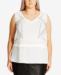 City Chic Trendy Plus Size Studded Top Ivory