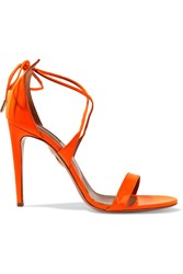 Aquazzura Linda Patent Leather Sandals Bright Orange