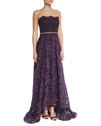 Badgley Mischka Strapless Beaded Waist Lace High Low Gown