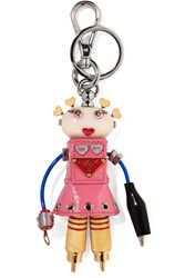 Prada Cheer Robot Embellished Textured Leather Keychain Baby Pink