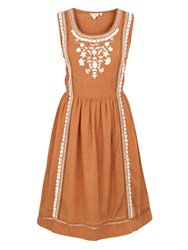 Fat Face Vanessa Embroidered Dress Honey