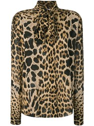 Saint Laurent Leopard Print Pussybow Shirt Brown