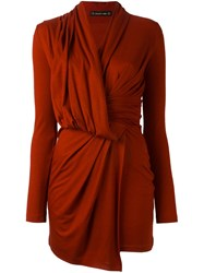Plein Sud Jeans Long Sleeve Wrap Dress Red