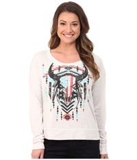 Rock And Roll Cowgirl Long Sleeve Pullover 48 4648 Off White Women's Long Sleeve Pullover