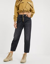 Only Straight Leg Jeans In Black Acid Wash Blue