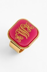 Women's Moon And Lola 'Vineyard' Personalized Monogram Ring Hot Pink