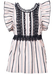 Anna Sui Ribbon Stripe And Daisy Song Top White