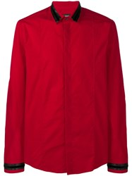 Les Hommes Contrasting Collar And Cuffs Shirt Red