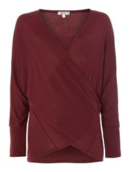 Wal G Long Sleeved Cross Over Front Top Knit Burgundy