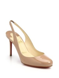 Christian Louboutin Fifi Patent Leather Slingback Pumps Black Nude