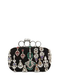Alexander Mcqueen Embellished Punk Four Ring Suede Clutch Black
