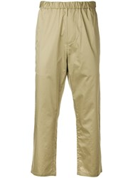 Oamc Straight Leg Cropped Trousers Neutrals