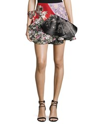 Alexander Mcqueen Patchwork Ruffled Leather Miniskirt Black Pattern