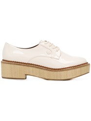 Emporio Armani Block Heel Lace Up Shoes Nude And Neutrals