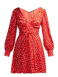 Alexachung Floral Print Crepe Wrap Dress Red