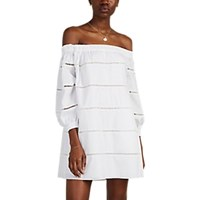 A.L.C. Hartman Crocheted Inset Cotton Off The Shoulder Dress White