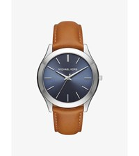 Slim Runway Silver Tone And Leather Watch