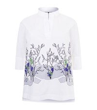 Marina Rinaldi Embroidered Cotton Tunic Shirt White