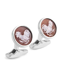 Ermenegildo Zegna Cameo Rooster Cuff Links W Seashell Gray Brown