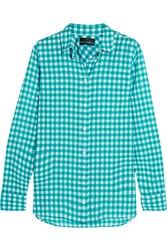 J.Crew Gingham Crinkled Cotton Blend Poplin Shirt Teal