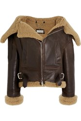 Balenciaga Swing Bombardier Oversized Shearling Jacket Dark Brown
