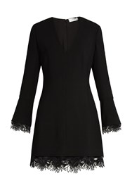 A.L.C. Jamie Lace Trimmed Crepe Mini Dress Black
